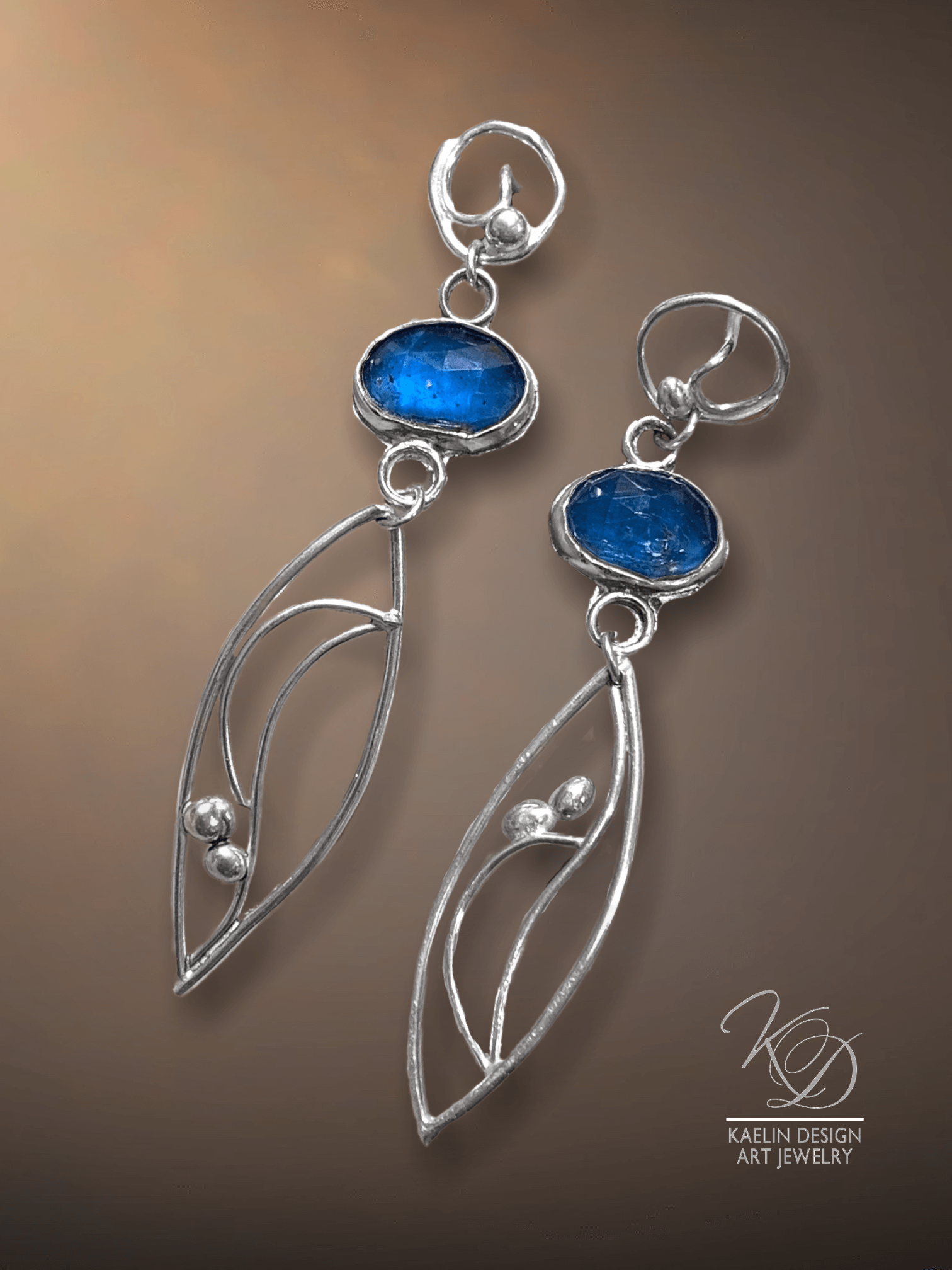 Tidal Whispers Blue Kyanite Ocean Inspired Earrings by Kaelin Design Fine Art Jewelry