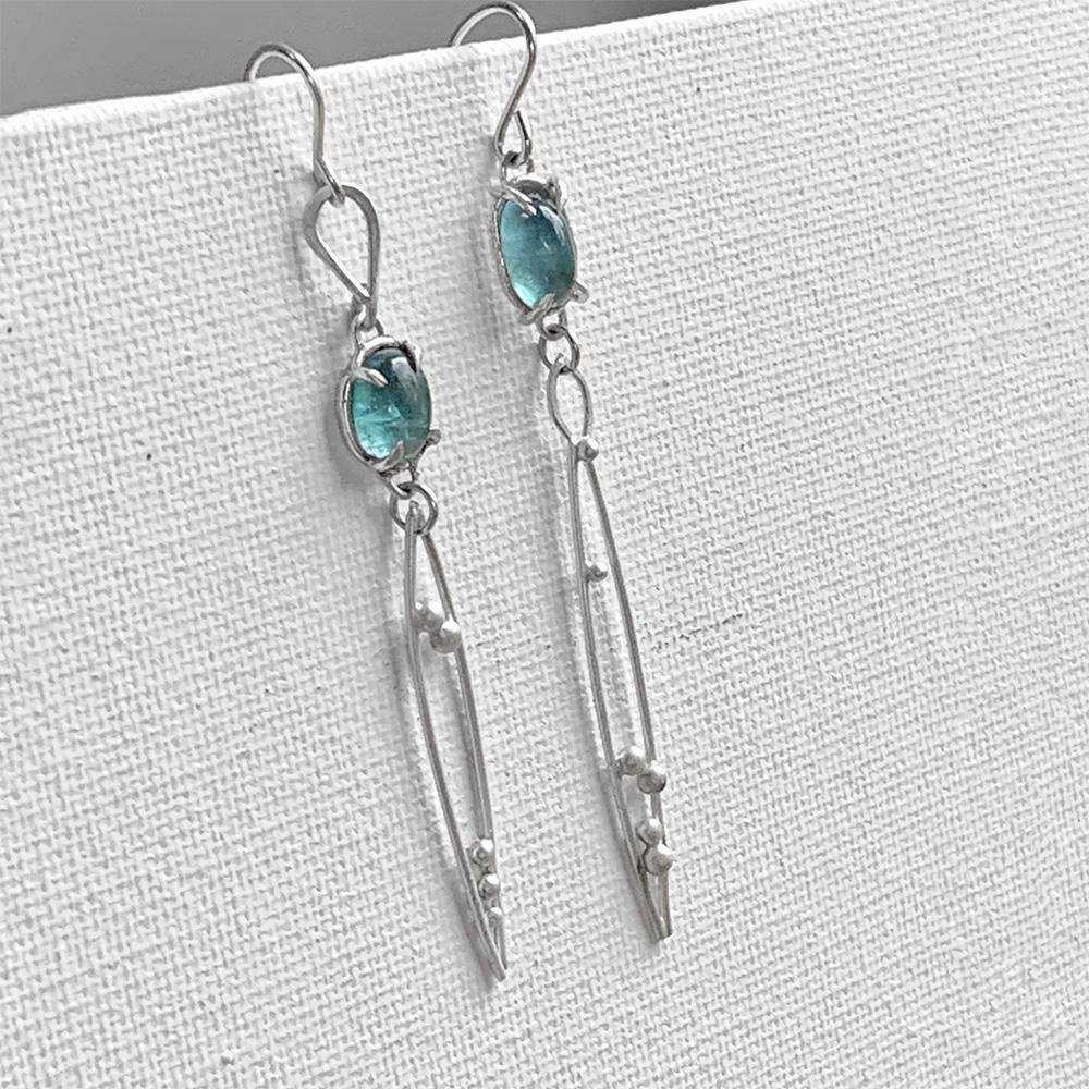 Tourmaline Shores Sterling Silver Tourmaline Earrings by Kaelin Design