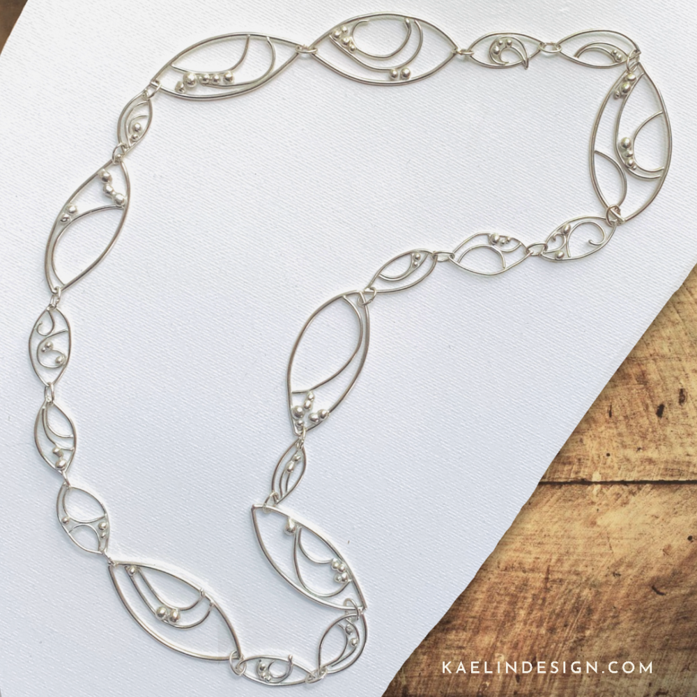 Sea Tides Long Sterling Silver Necklace by Kaelin Design Fine Art Jewelry