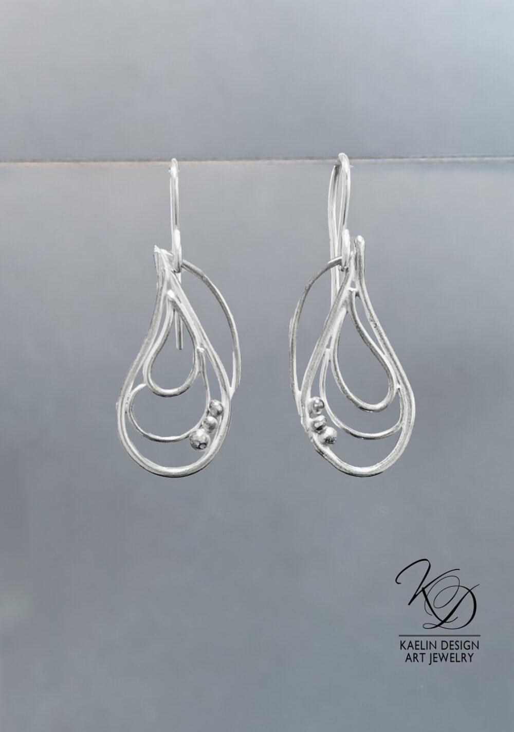 Captured Bubbles Ocean Inspired Sterling Silver Earrings by Kaelin Design Fine Art Jewelry