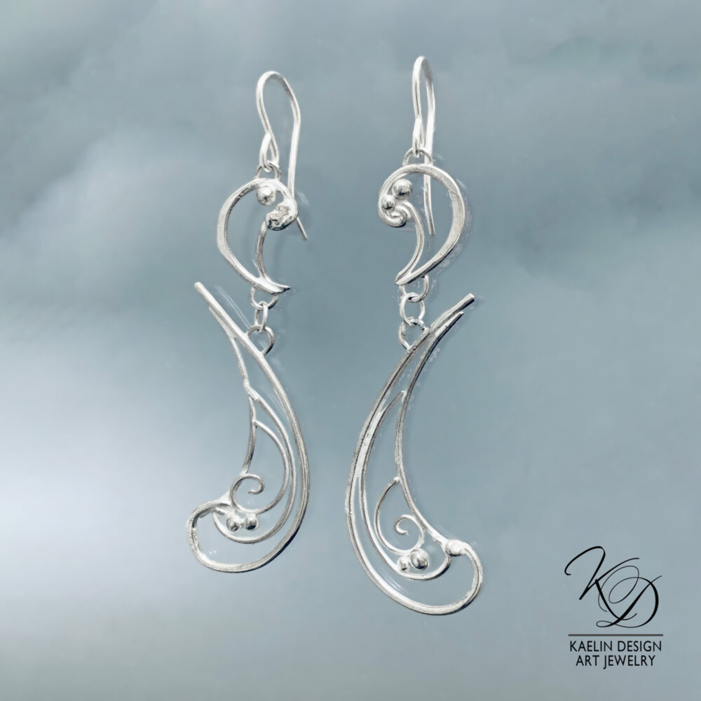 Surf Hand Forged Sterling Silver Ocean Inspired Earrings by Kaelin Design