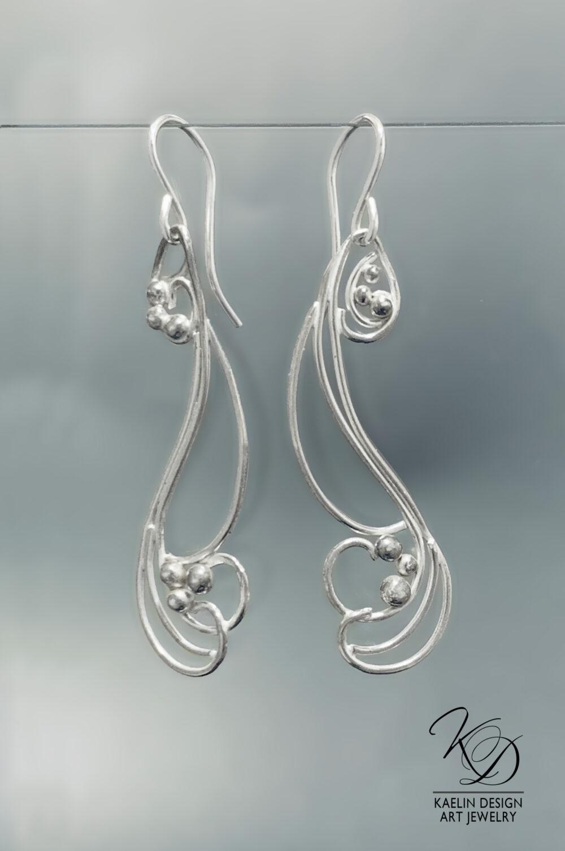 Crosscurrents Sterling Silver Earrings by Kaelin Design Fine Art Jewelry