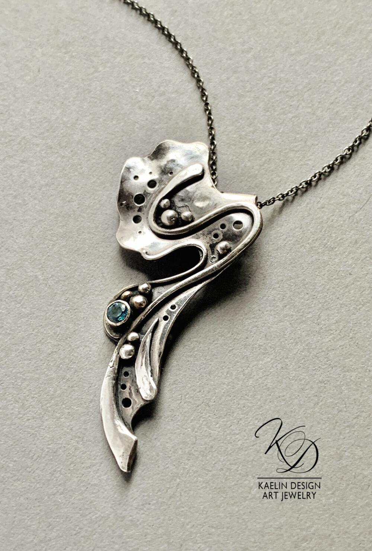 Sea Spray Blue Topaz Silver Fine Art Jewelry Pendant Necklace by Kaelin Design
