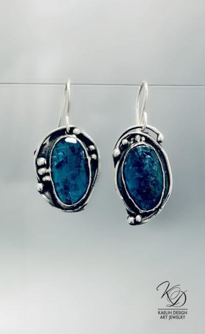 Shadowed Seas Teal Blue Kyanite Earrings by Kaelin Design Fine Art Jewelry
